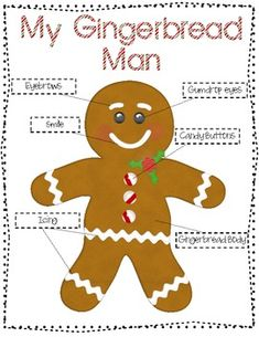 Gingerbread Family- Labeling, drawing and math activities