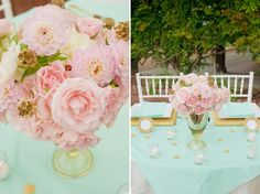 sweetheart table, gold weddings, color schemes, color combos, wedding colors, mint weddings, table centerpieces, flower, blush