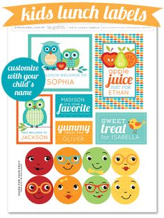 It is back to school time already! To add a personal touch to your child's lunch, we have some adorable labels for you. This sheet of labels, illustrated and designed by liagriffith.com