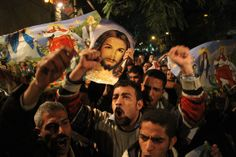 Coptic Christians take it to the streets in Egypt. If only protestors here had such good taste in banners and such meaning behind their protests.