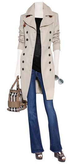 Burberry trench coat and purse