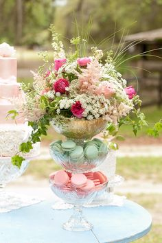 floral centerpieces, whimsic garden, macaroon, whimsical garden party, parisian centerpieces, flower, garden weddings