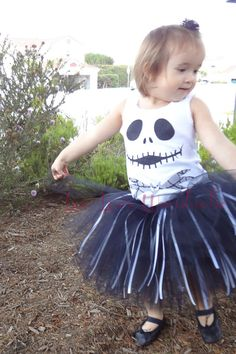Jack Skellington Nightmare Before Christmas Onesie or shirt Easy Halloween Costume for girls and boys. $10.00, via Etsy.