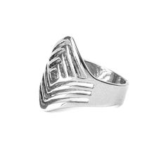 Silver Diamond Shaped Chevron Ring | Icing