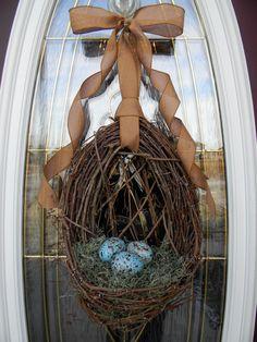 "Spring Wreath Easter Wreath Grapevine Door Wreath Basket Decor...""Blue Eggs"". $60.00, via Etsy."