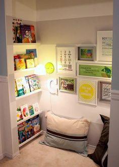reading area in kids closet... I love it, if a room has two closets!