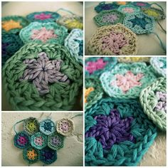 squar, handbag, crochet ideas, crochet hexagon, tini hexagon