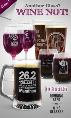 Running Wine and Beer Glasses! Have your race results or message custom engraved on the back side of the glass too.