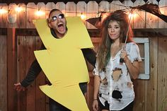 Halloween Couples Costumes, Lightening and Struck by  the Lightening...of love! Such a cute and creative idea!