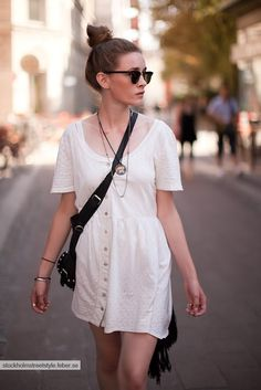 A simple white dress. Easy, cute look for spring/summer