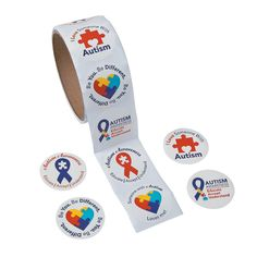 April is Autism Awareness month. Show your loved one you'll stick with them through it all with these Autism Awareness Roll Stickers - OrientalTrading.com