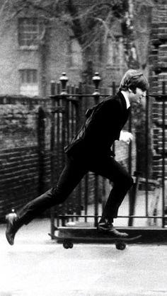 John Lennon skateboarding