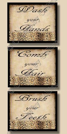 Cheetah Leopard Print Bathroom Wall Word Art by collagebycollins, $24.99
