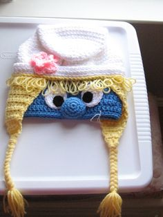 Child Sized Smurfette-Inspired Smurfish Girl Character Hat with Braids Crochet Crocheted Handmade Beanie.