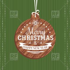 Christmas card with wooden xmas ball, download royalty-free vector clipart (EPS)