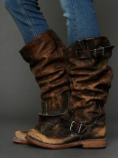 Washed tall boots. wow.