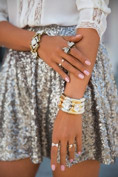 holiday parties, fashion, sequin, accessori, pink nails