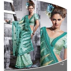 Aqua Blue Brasso Saree with Blouse -- Aqua blue brasso base and net pallu saree; It is exclusively embellished with sequins, patch and resham work; Net pallu is the highlighting feature of this saree; Gracious patch patti is giving it beautiful and trendy look; Comes with a matching blouse piece $84
