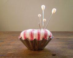 petite pincushion using a vintage tart tin from Sweden
