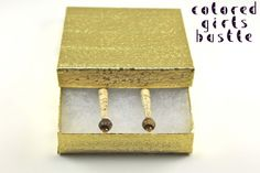 bead earrings, nude paper, gold box, paper beads