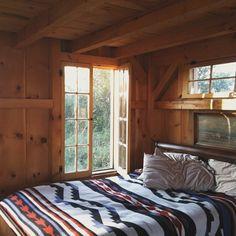 cozy bed and cozy cabin.