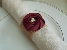Burlap Wedding Decor - Burlap Napkin Rings  - via Etsy