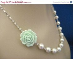 brunch necklace? ON SALE Bridesmaid Necklace Mint Green Flower and White Pearl Wedding Jewelry. $17.00, via Etsy.
