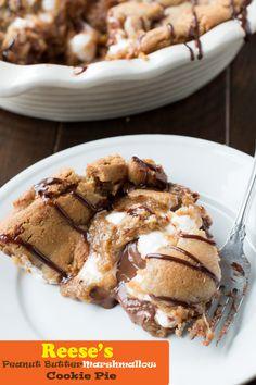 food recip, marshmallow pie, butter marshmallow, pies, marshmallow cooki, rees peanut, peanut butter, cooki pie, dessert