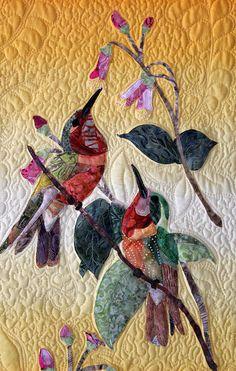 hummingbird applique, art quilt, hummingbird garden, quilt tapestri, quilt art, hummingbird quilt, garden quilts