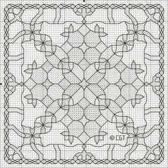 Printable Kaleidoscope Coloring Pages   Free Kaleidoscope Three Cross Stitch Pattern - Free Kaleidoscope Three ...