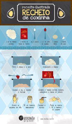 Receita-infográfico de recheio de coxinha de frango