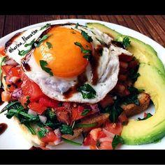Fried Egg Bruschetta with Avocado - Cafe Delites
