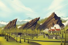 City Of Boulder- | Brian Edward Miller of Orlin Culture Shop | Click the image to see a great overview of his process in creating this piece. There is much more to the image. #illustration #brianedwardmiller