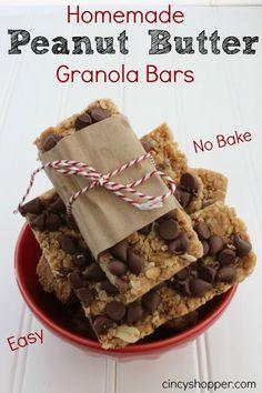 Homemade Peanut Butter Granola Bars Recipe. Easy no bake. Great for on the go breakfast, snack or dessert.