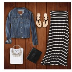 jean jacket, maxi skirt Spring outfit (polyvore)