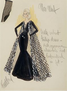 Edith Head sketch for Mae West in Myra Breckenridge (1970)