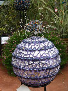 mosaic bowl, bowl ball, garden design, garden mosaics, gardens, garden interior, spiral, bowling ball garden art, modern garden
