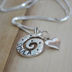 Doula Heart Necklace Sterling Silver. $42.00, via Etsy. if anyone loves me, they will buy this for me lol
