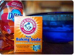 Fill a bucket or storage tub with cool water and add 1/4 cup of baking soda to the water.      Dip clothes into the baking soda water.      Using a small amount of dish soap, lightly scrub the stain, collar, and/or cuffs of clothes.      Soak clothes in the baking soda water over night. If you have a very stubborn stain repeat steps 1-5 and allow to soak for multiple days. Baking soda will not hurt your clothes.