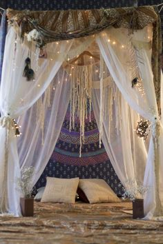 canopi, fairy room, dream catchers, canopy beds, string lights, bohemian bedrooms, bohemian style, dream bed, dream rooms