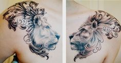 Lion and lioness chest piece. done by Matt ... | incredible ink & ama…