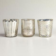 silver mercury glass votive candleholders / world market