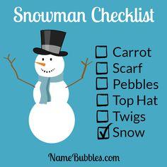 Snowman Checklist