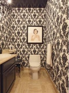 damask bathroom, too much