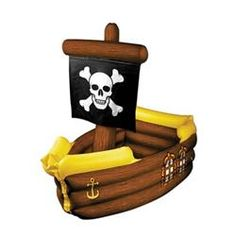 Pirate Party Supplies: Inflatable Pirate Ship Cooler holds apprx 72 12-Oz cans (Each)