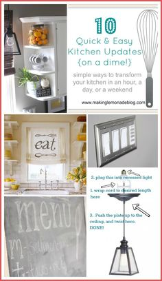 Short on time for a kitchen renovation? Want to save a bundle? Here's 10 Budget Kitchen Renovation Ideas on a Dime that you can complete in minutes (or, at most, a few hours)! via www.makinglemonadeblog.com