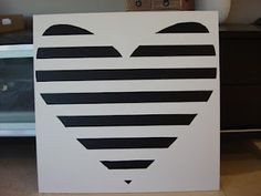 Black and white striped heart canvas DIY