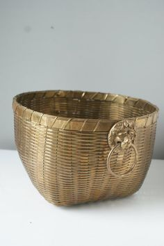Hollywood Regency Brass Woven Basket. Large by theenchantedfigtree, $149.00