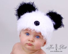 Fuzzy Panda Bear Beanie ~ precious!