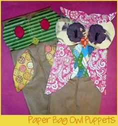art project, paper bag puppets, bag owl, owl art, paper bags, papers, owl puppet, owl paper, owls